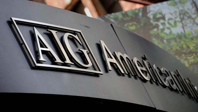 File photo taken in 2008 shows th logo of American International Group (AIG) outside the insurance giant's offices in New York City.