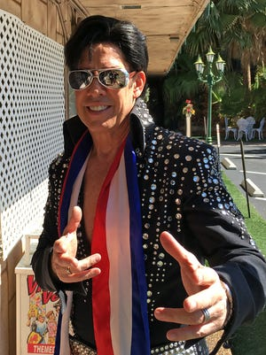 Ron DeCar of Viva Las Vegas Wedding Chapel has a wardrobe of jumpsuits because of his work as an Elvis impersonator who conducts weddings.