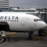 A Delta Air Lines aircraft at Seattle-Tacoma International Airport on June 7, 2010.