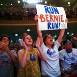 Supporters cheer Bernie Sanders in New York on June 23, 2016.