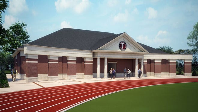 A rendering of an athletic field house at Franklin High School