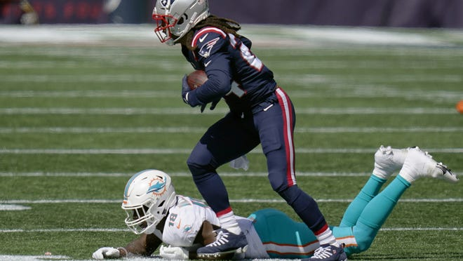 The Patriots reportedly were shopping reigning NFL Defensive Player of the Year Stephon Gilmore in the offseason. Gilmore recorded an interception during Sunday's season-opening win over the Dolphins.