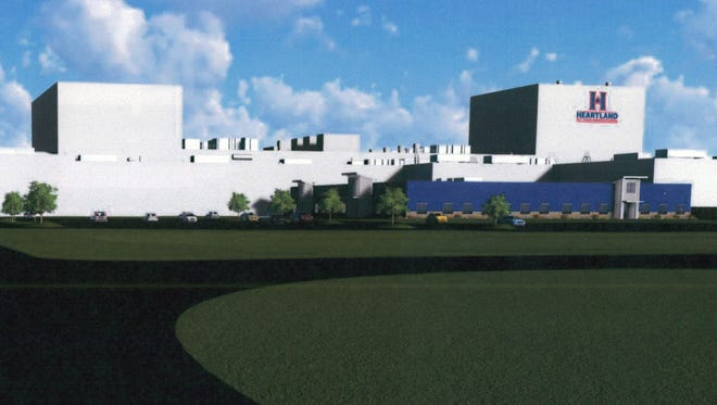 The east elevation of the new Blue Buffalo pet food manufacturing facility is seen in an undated rendering by Design Group Facility Solutions, provided to the Palladium-Item  by the City of Richmond, Ind. on Thursday, June 8, 2017.
