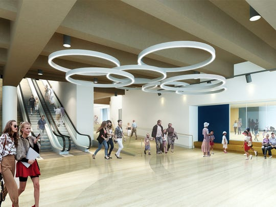 An artist rendering of the new mezzanine lobby.