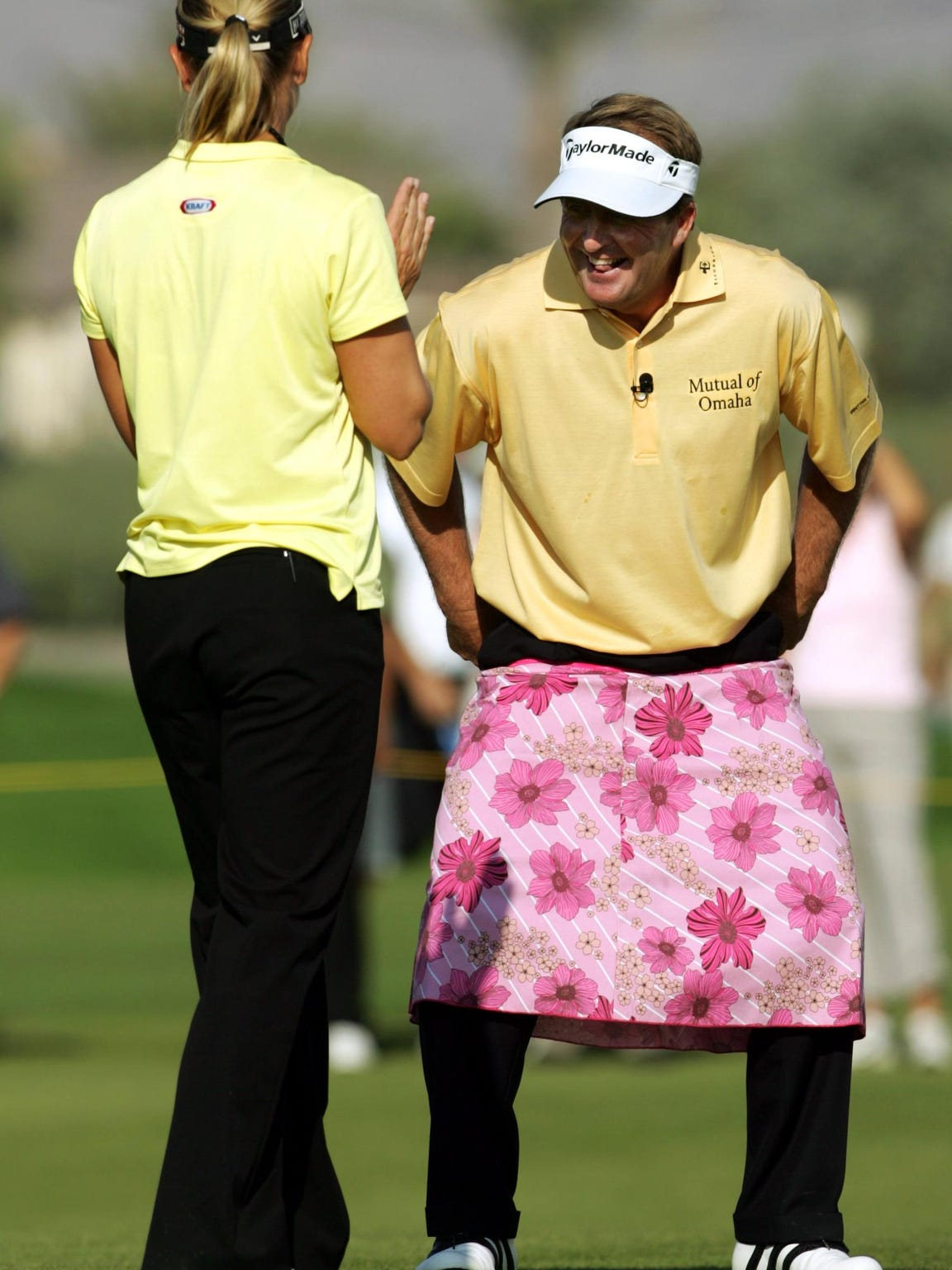 That time Fred Funk wore a pink skirt at the Skins