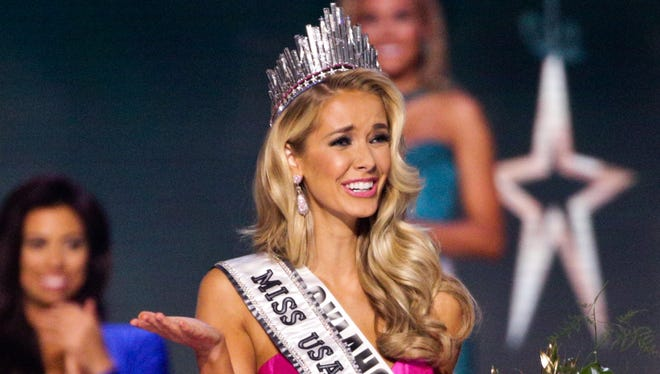 Miss Oklahoma Olivia Jordan celebrates after winning the 2015 Miss USA pageant in Baton Rouge, La., on July 12.