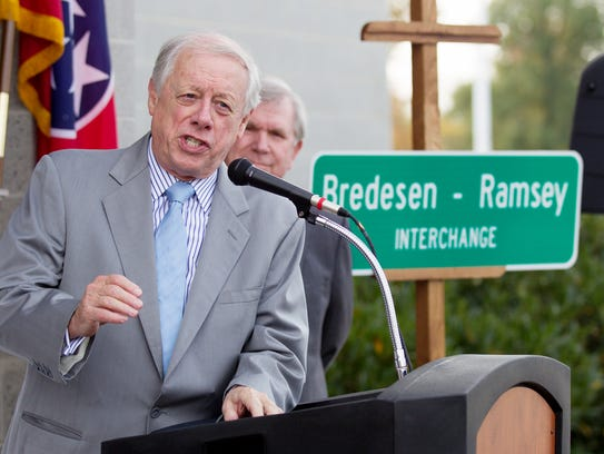 Former Gov. Phil Bredesen speaks at a ceremony in Chattanooga, Tenn. Oct. 29, 2015.