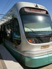 A light rail car in Phoenix.