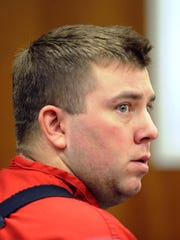 Published caption: PHOTOS BY ANDY BARRON/RENO GAZETTE-JOURNAL FILE Biela looks up momentarily during the preliminary hearing Dec. 10 at the Mills Lane Justice Center in Reno.  ooo  James Michael Biela, who is charged with the murder of Brianna Denison, looks up momentarily during the preliminary hearing at the Mills Justice Center in Reno, Nev. on Wednesday December 10, 2008.