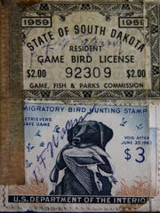 Copy of a 1959 South Dakota hunting license found in