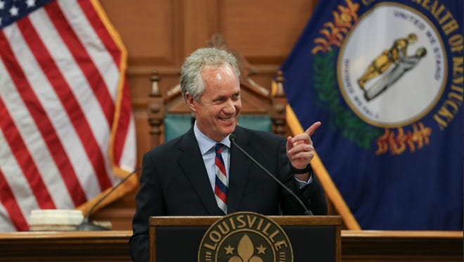 Louisville Mayor Greg Fischer delivers his budget proposal for fiscal year 2017-2018 to Louisville Metro Council Thursday. April 27, 2017