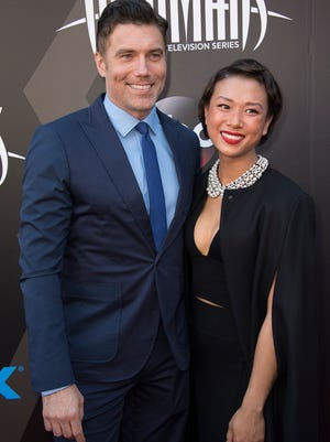 "Anson Mount at the World Premiere of ""Marvel's Inhumans"" with his fiance in Los Angeles on Aug. 28."
