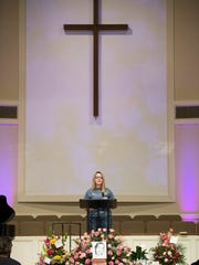 Brenda Muntean, the mother of Bella Muntean, speaks during a celebration of life service for her at Covenant United Methodist Church in Greer on Saturday, April 14, 2018.