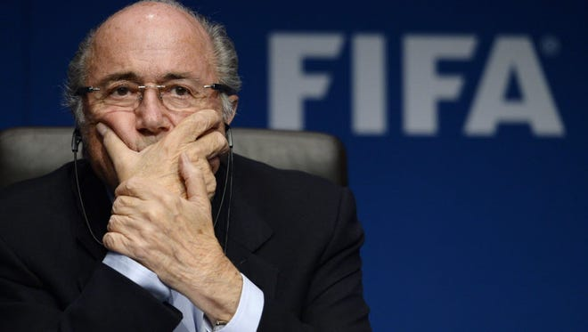 Sepp Blatter at a FIFA press conference in Zurich in 2014.