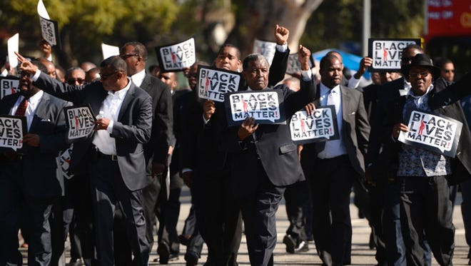 Black Lives Matter protesters in Los Angeles in 2015.