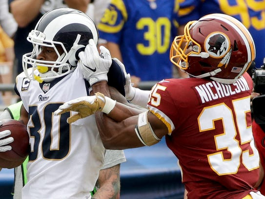Los Angeles Rams running back Todd Gurley, left, is