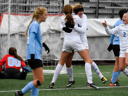 The Reitz Memorial Tigers play the St. Joseph Indians in the Class 2A Girls Indiana High School Athletic Association Soccer State Finals at Michael A. Carroll Stadium in Indianapolis Saturday, October 28, 2017.