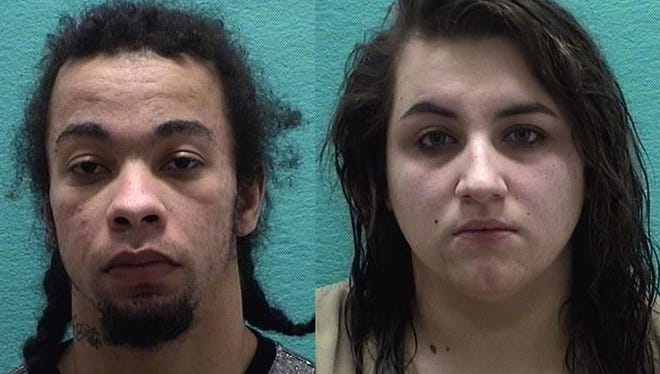 Devin Stull, left, and Hailey Snedden, right, are charged with aggravated robbery, a first-degree felony.