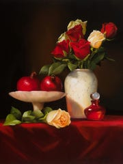 Roses with Pomegranate by Pat Tribastone.