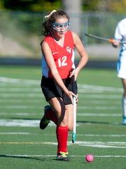 CVU's Lily Schmoker moves the ball during a game last season..