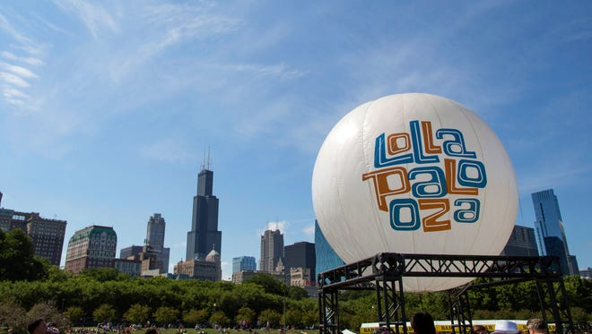 A Lollapalooza balloon at the Lollapalooza Festival in Grant Park in Chicago on Aug. 4, 2013. Lollapalooza marks its 10th anniversary in Chicago when it opens for three days starting Friday,  Aug. 1, 2014, with a lineup including Eminem, Outkast and Kings of Leon.
