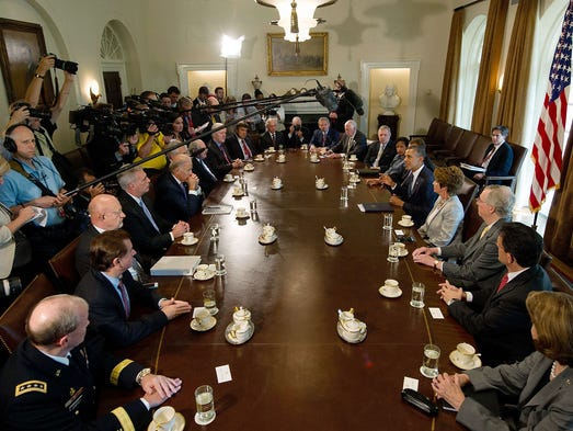 President Obama, on right, delivers a statement on Syria during a meeting with members of Congress at the White House on Sept. 3 in Washington. Obama said Syrian President Bashar Assad needs to be held accountable for an alleged poison gas attack in a suburb in Damascus on Aug. 21.