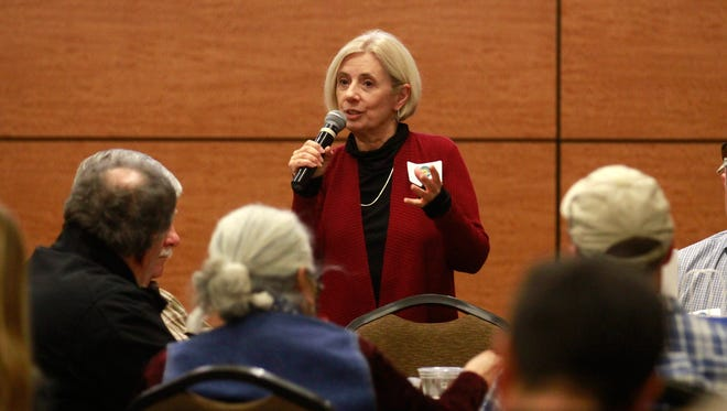 New Mexico First Deputy Director Charlotte Pollard speaks Wednesday during a Resilience in New Mexico Agriculture regional meeting at the Farmington Civic Center.