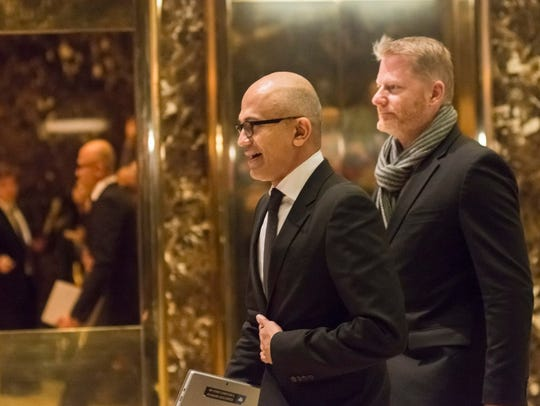 Microsoft CEO Satya Nadella arrives at Trump Tower