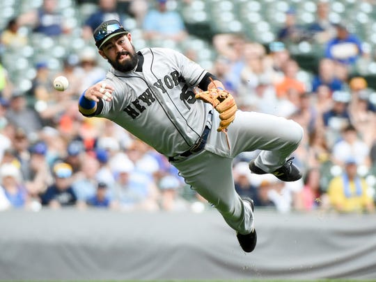 May 27, 2018; Milwaukee, WI, USA; New York Mets third