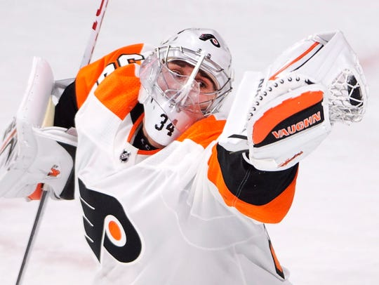Philadelphia Flyers goaltender Petr Mrazek makes a