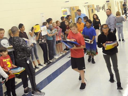 Students walk through the hallway at Yerington Intermediate