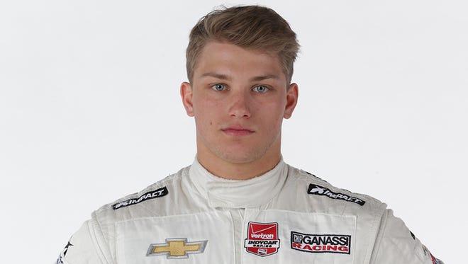 Sage Karam crashed in Turn 1 of Lap 180 of Sunday's IndyCar Series race at Pocono Raceway