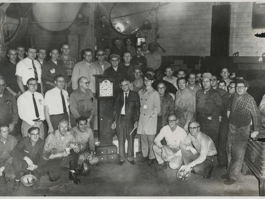 Muncie Chevrolet workers assembled for a party in this undated photo.