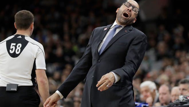 Memphis Grizzlies head coach David Fizdale reacts to a call during the second half in Game 1 of a first-round NBA basketball playoff series against the San Antonio Spurs, Saturday, April 15, 2017, in San Antonio. (AP Photo/Eric Gay)