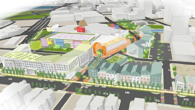 An overview of The Strong National Museum of Play expansion proposed along Union Street, encompassing two of the five Inner Loop development parcels.