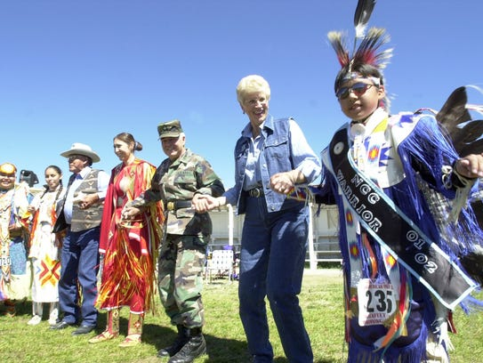 Governor Judy Martz participates in a round dance at