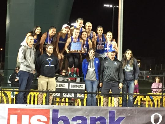The 3A girls state champion Blanchet track and field