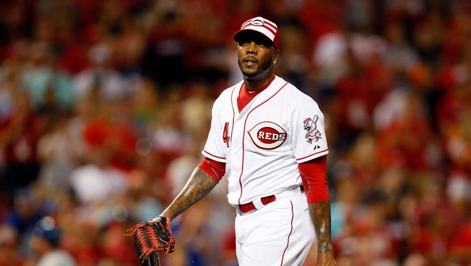 Jul 14, 2015: National League pitcher Aroldis Chapman (54) of the Cincinnati Reds reacts after the ninth inning against the American League during the 2015 MLB All Star Game at Great American Ball Park.
