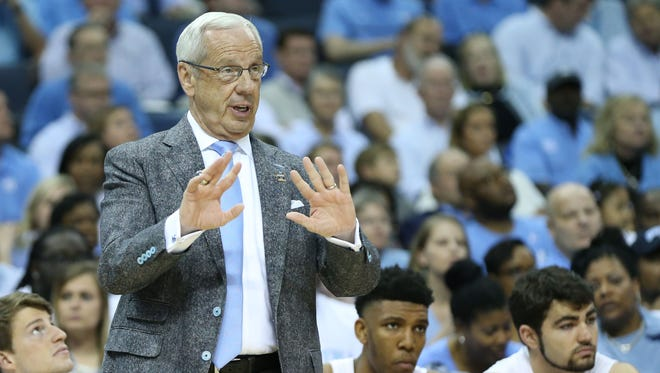 North Carolina Tar Heels head coach Roy Williams reacts in the first half against the Butler Bulldogs during the semifinals of the South Regional of the 2017 NCAA Tournament at FedExForum.