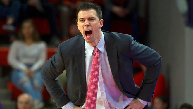 Louisville Cardinals head coach David Padgett reacts during the second half at Littlejohn Coliseum in Clemson, South Carolina, on Saturday, Jan. 6, 2018.