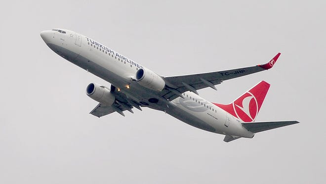A file photo taken on March 16, 2013 shows a Turkish Airlines aircraft taking off from Ataturk Airport in Istanbul. A Turkish Airlines plane en route from New York to Istanbul was diverted to Canada on November 22, 2015 because of a bomb threat, police said.