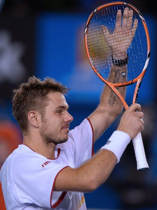 2014-01-21 Wawrinka wins slaps racquet