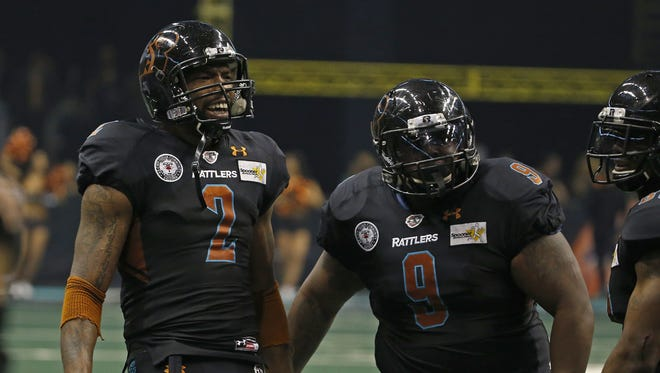 Rattlers' Maurice Purify (2) is one of seven players from last year's SaberCats team.