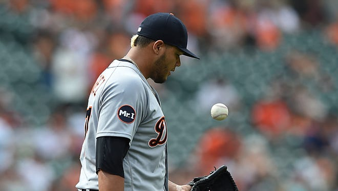 Joe Jimenez reacts after giving up two runs to the Orioles in the eighth inning of the Tigers' 12-3 loss on Aug. 6, 2017 in Baltimore.