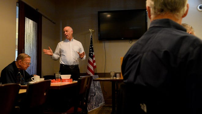 Greg Gianforte, who is running for Montana's vacant seat in the U.S. House, addresses the Pachyderm Club's weekly meeting on Thursday at Rikki's Pizza.