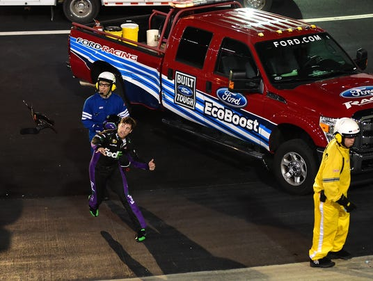 8-23-2014 denny hamlin hans throw