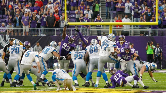 Detroit Lions kicker Matt Prater (5) kicks a 58-yard field goal to tie the game against the Minnesota Vikings as time runs out in regulation at U.S. Bank Stadium. The Lions won 22-16 in overtime on Sunday, Nov. 6, 2016, in Minneapolis, Minn.