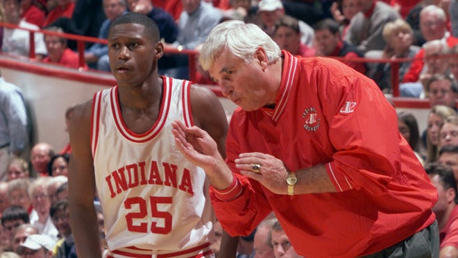 Shown in this 1999 file photo, A.J. Guyton receives instruction from coach Bob Knight.