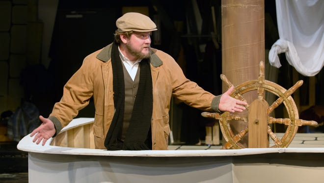 """Nicholas Mumma performs during a dress rehearsal of """"The Christmas Schooner"""" at What A Do Theatre in Battle Creek."""