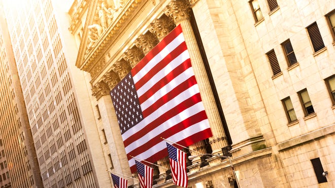 An American flag on the New York Stock Exchange building.